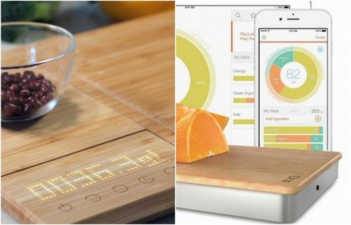 Разделочная доска может показать вес или калории продукта