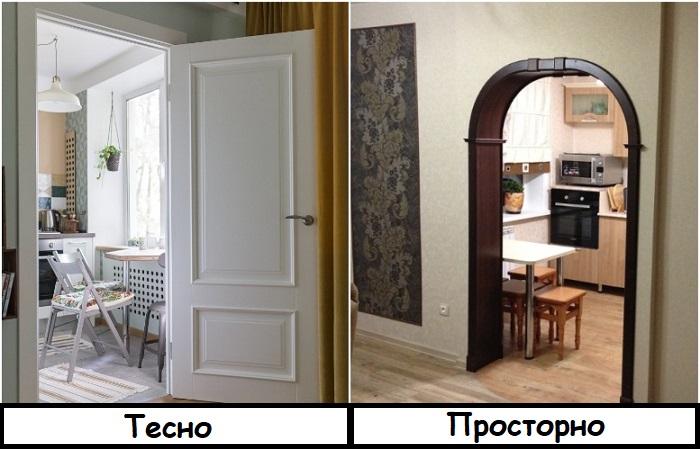 На кухне можно обойтись без двери, чтобы сэкономить место