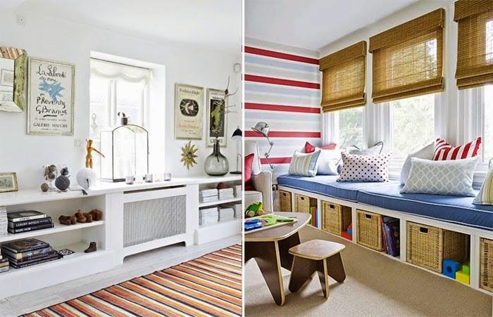 Под подоконником можно сделать ящики, комод или поставить плетеные корзины. / Фото: elenaeller.com