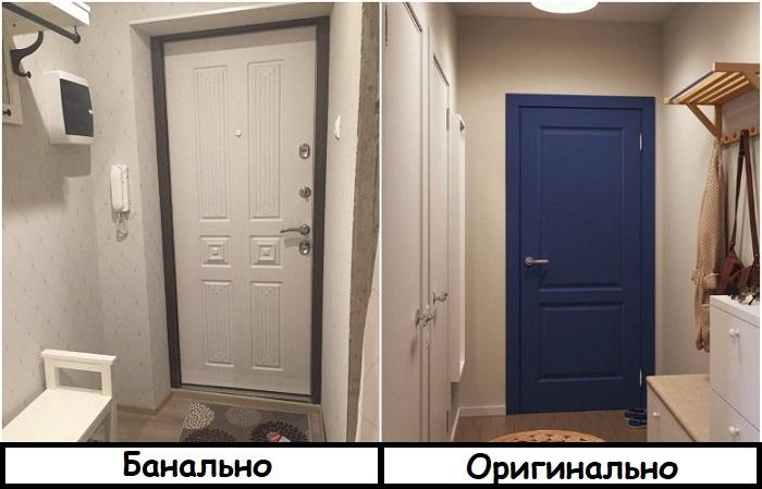 Входная контрастная дверь привлекает внимание
