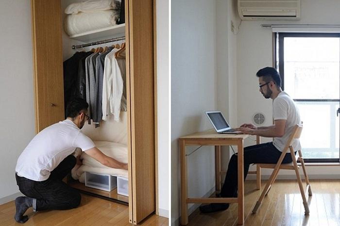 В квартире должно быть минимум вещей и все они обязаны поместиться в небольшой чехол. / Фото: fupping.com