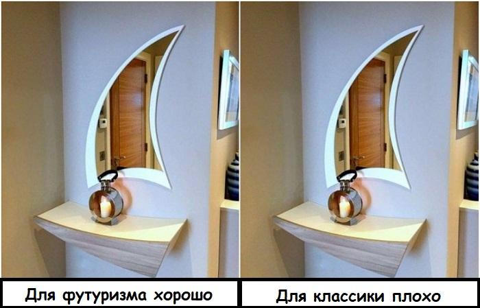 Форма зеркала должна подходить по стилю интерьера