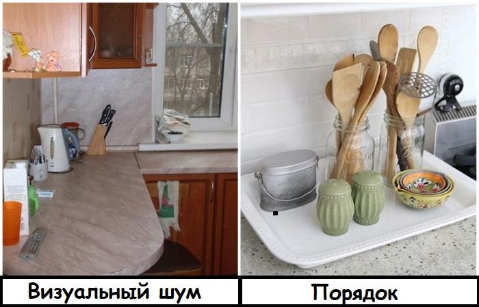 Чтобы не провоцировать ощущение хаоса, расставьте нужные кухонные принадлежности на подносе