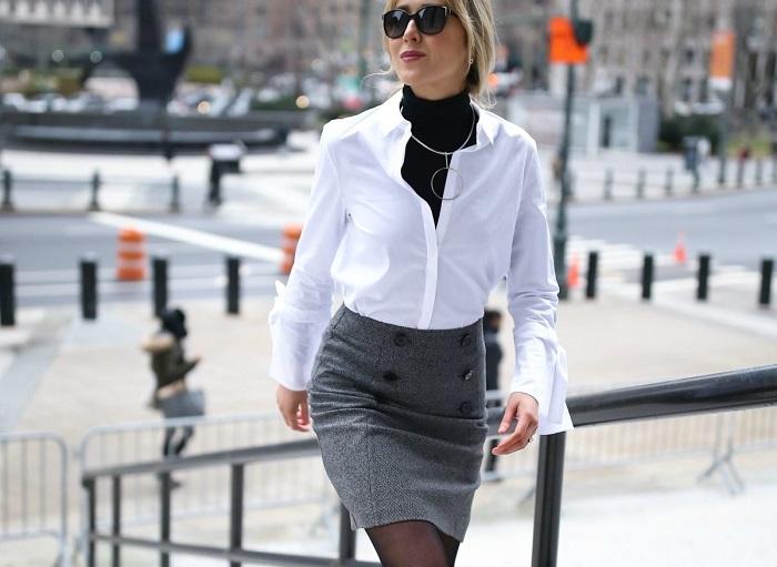 Водолазка, рубашка и узкая юбка станут прекрасным офисным ансамблем. / Фото: glamiss.ru