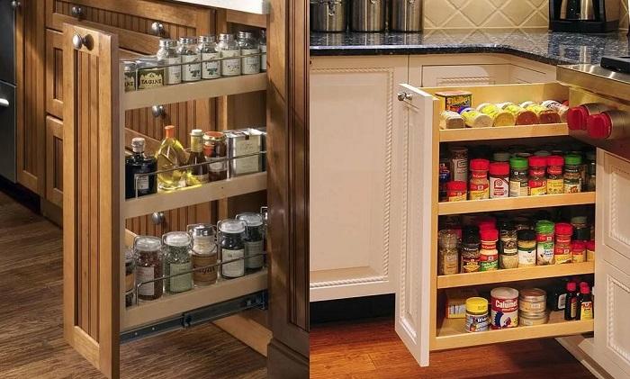 В ящике-бутылочнице несколько полок для круп, специй и прочих сыпучих продуктов. / Фото: good.net.nz