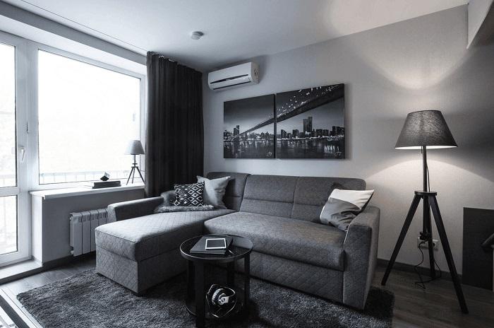 Монохромный интерьер получается мрачным. / Фото: design-homes.ru