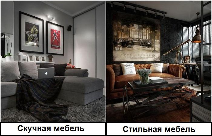 Лучше смотрится оригинальная мебель, а не обычная