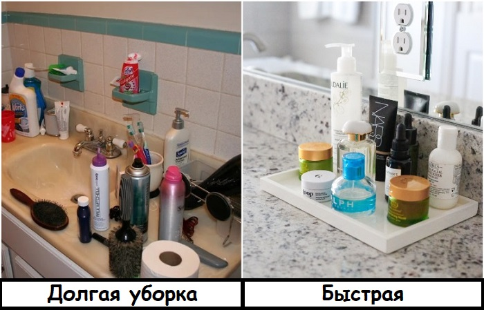 Если сложить тюбики на поднос, уборка пойдет быстрее. / Фото: bleskr.ru
