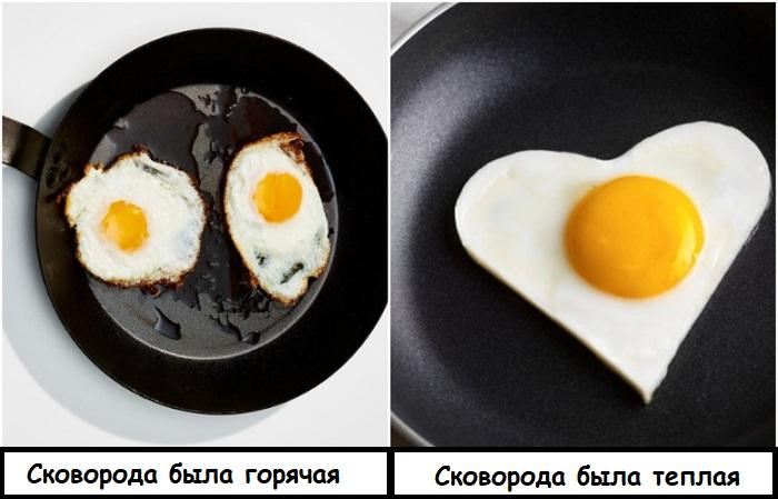 Если сковорода будет горячей, яичница сразу пристанет и сгорит