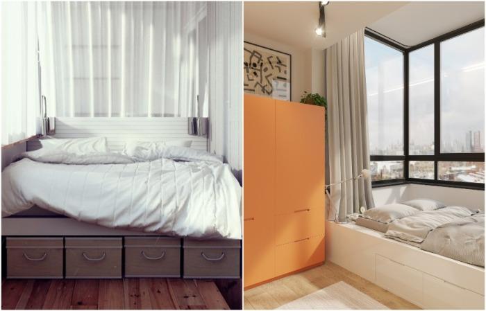 На присоединенной к спальне лоджии можно разместить кровать с ящиками