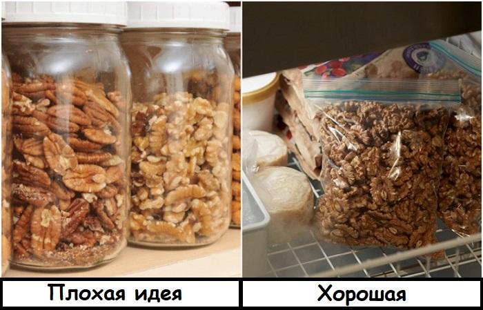 Орехи лучше хранить в zip-пакете в холодильнике
