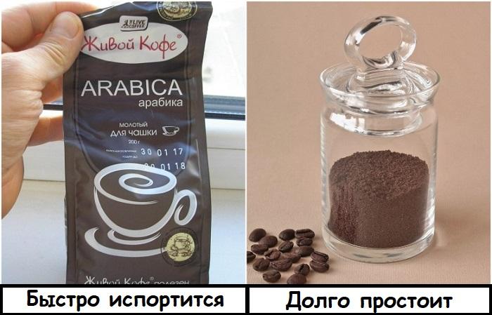 Заварной кофе лучше пересыпать в банку с крышкой