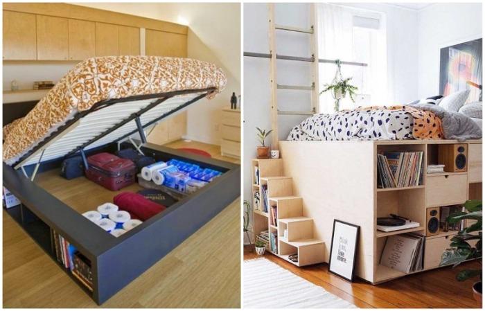Пространство под кроватью и подиум отлично подходят для хранения