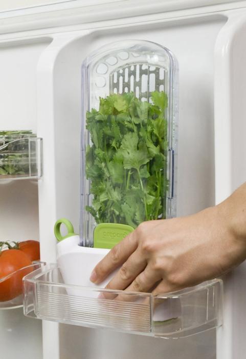 Хранитель компактный и помещается на дверце холодильника. / Фото: kitchensinteriors.ru