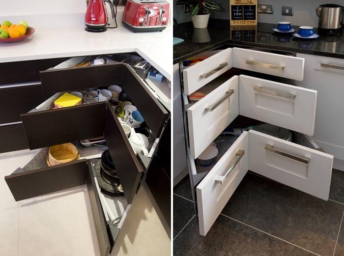 Ящики нестандартной формы - отличное решение для углового шкафа