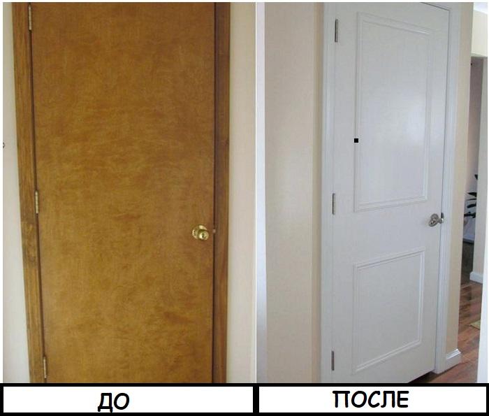 Двери достаточно покрасить и украсить деревянными рейками
