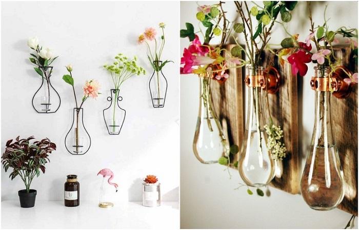 Настенные вазы с цветами добавляют уюта