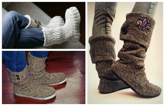 Сапоги из теплого свитера и домашних тапочек. / Фото: ifehacker.ru
