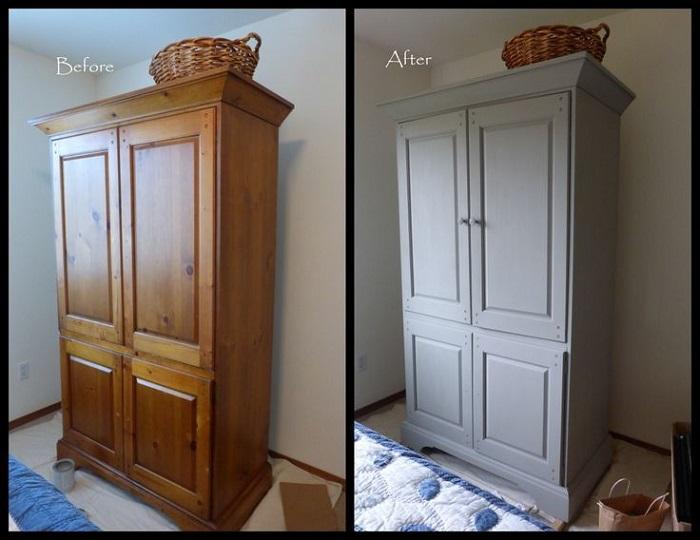 Шкаф до и после покраски. / Фото: infomebli.ru