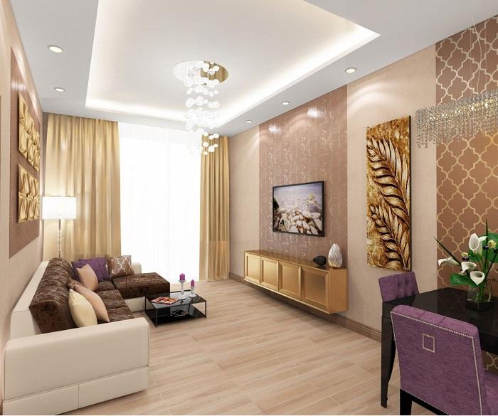Золотой декор нужно поддерживать мебелью и отделкой. / Фото: inrosstroy.ru