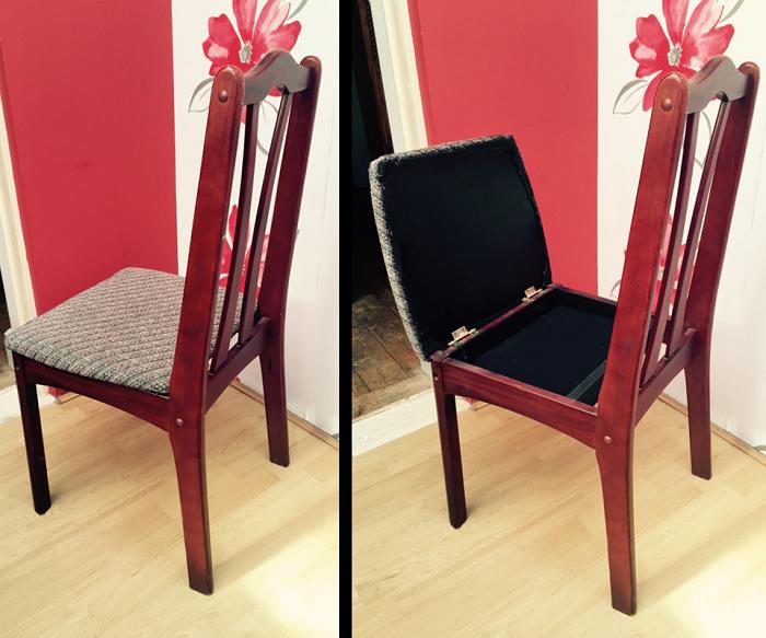 В нише под сиденьем стула можно прятать мелкие предметы. / Фото: instructables.com