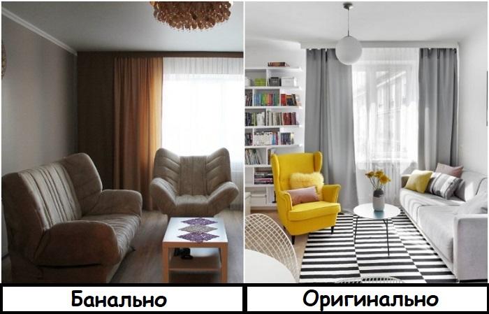 Откажитесь от мебельных комплектов в пользу яркого кресла