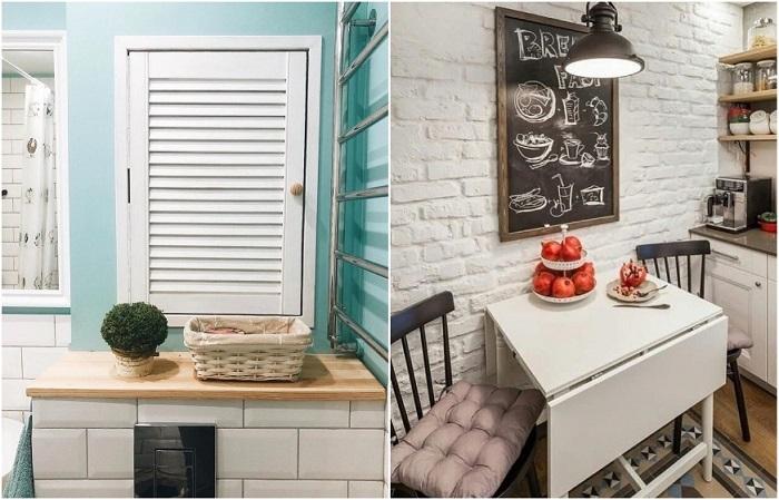 Жалюзийная решетка в ванной и уютные стулья на кухне украсят квартиру
