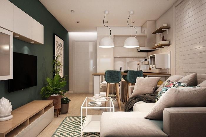Зеленую акцентную стену поддержат стулья в тон. / Фото: mykaleidoscope.ru