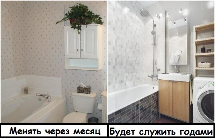 Обои в ванной долго не продержатся, в отличие от плитки