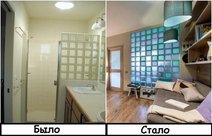 Раньше стеклоблоки использовали только в санузлах, а теперь и в других комнатах