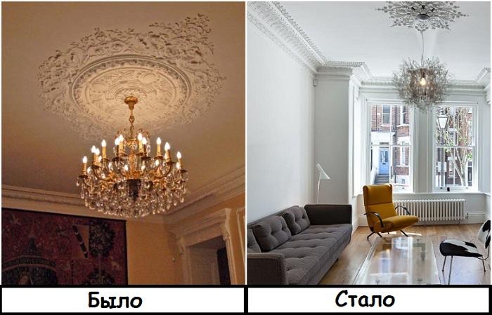 Лепнина на потолке смотрится актуально только в совокупности с подходящими предметами интерьера