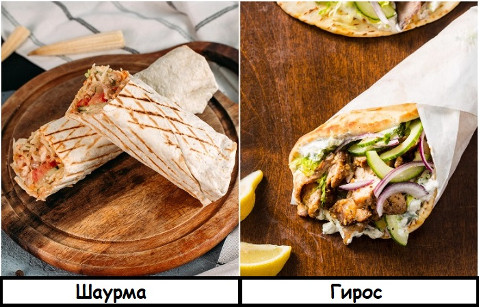 Шаурма и гирос - разные названия одного блюда
