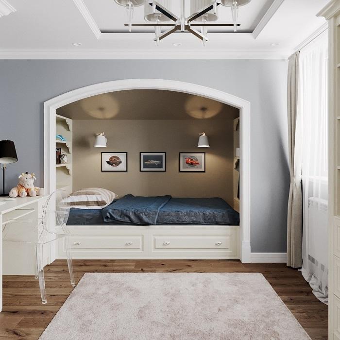 В алькове можно расположить кровать, а рядом - стол для работы. / Фото: ivd.ru