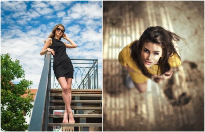 На фото снизу ноги получаются бесконечными, а снимок сверху - это изюминка