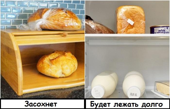 Хлеб лучше и дольше хранится в холодильнике