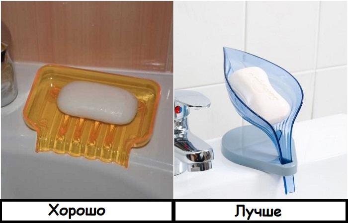 В такой мыльнице на накапливается вода