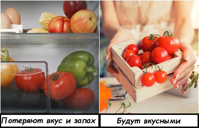 Помидоры нужно хранить не в холодильнике, а при комнатной температуре