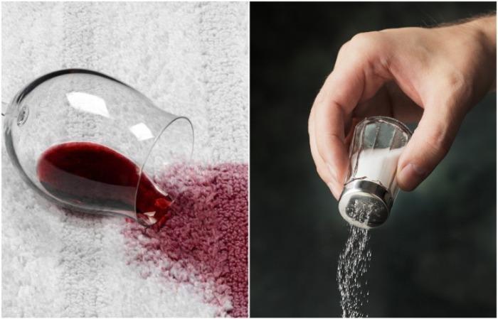 Посыпьте солью след от вина