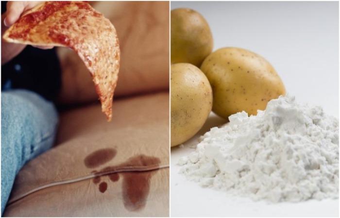 Картофельный крахмал устранит следы от пиццы