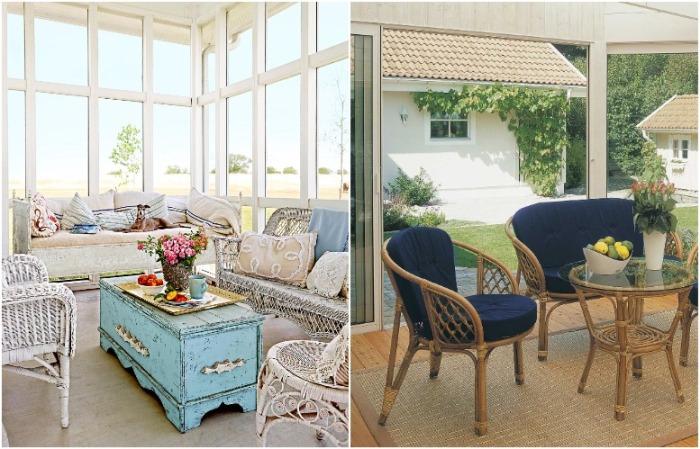 Мебель может быть плетеная и винтажная