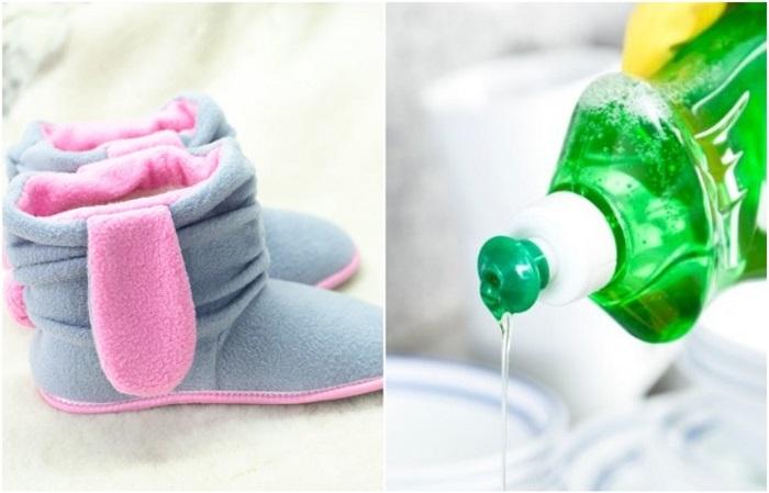 Убрать пятна на флисовых тапках поможет средство для мытья посуды