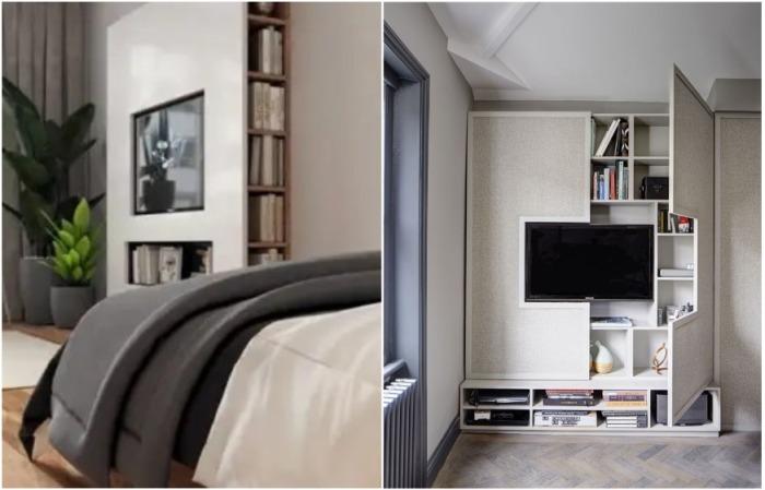 Небольшой стеллаж для книг или мелочей можно спрятать за телевизором