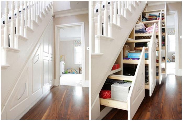 Если есть лестница, оборудуйте под ней нишу. / Фото: kupi-krasku.ru
