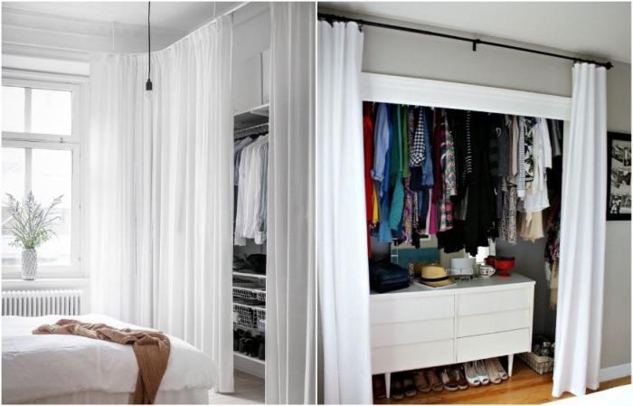 Пускай шторы на шкафу будут совпадать с текстилем на окне