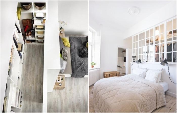 Если комната длинная, шкаф или полки могут спрятаться за изголовьем кровати