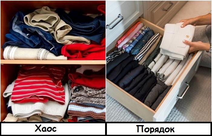 Лучше хранить одежду в комоде, чтобы не приходилось долго искать нужную вещь