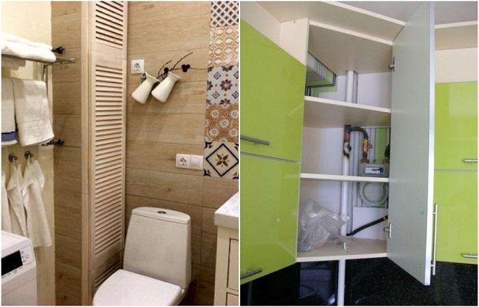 Трубы в ванной и на кухне можно спрятать в фальшь-шкафчик или замаскировать перегородкой