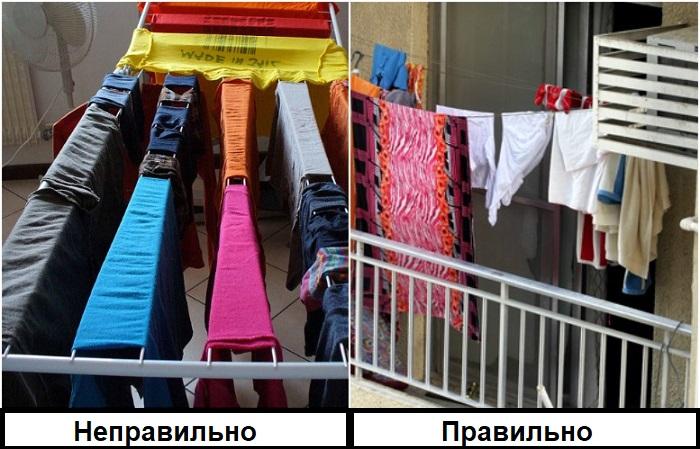 Белье лучше сушить не в комнате, а на балконе