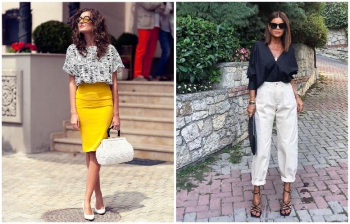 Одинаково хорошо работают и юбки, и брюки с завышенной талией