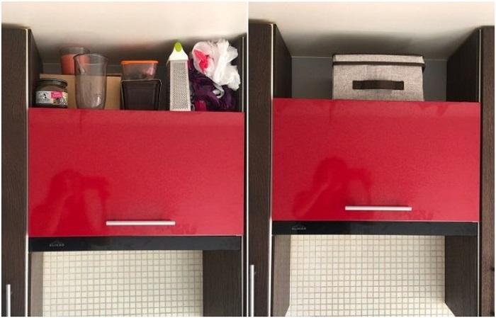 Различные предметы на шкафу создадут хаос, если не убрать их в коробку